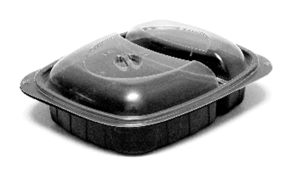Mikrowellenschalen aus PP / Black Line - Variante A / 2-geteilt